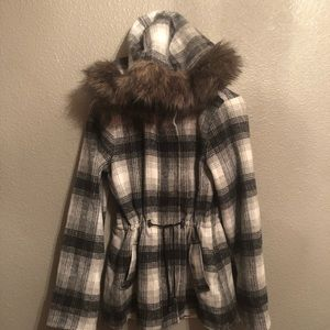 Jackets & Coats - Black/white/grey plaid jacket with fur hoodie.